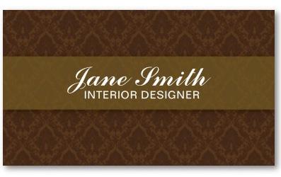 Damask interior designer business card zazzle - Elegant Stylish Classy Retro Damask Floral Business Card